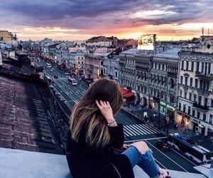 city and girl image