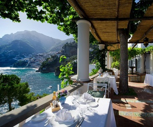 Amalfi coast, drinks, and food image