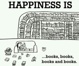 books, happiness, and library image