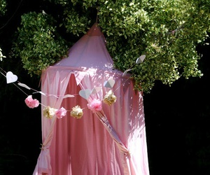 pink, tent, and flowers image