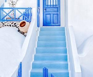 blue, Greece, and door image