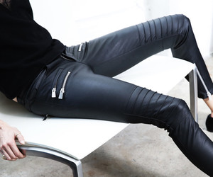 black sweater, i, and leather pants image