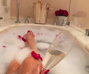 champagne, bath, and luxury image