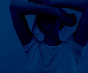 blue, girl, and dark image