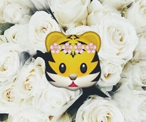 emoji, flowers, and tiger image