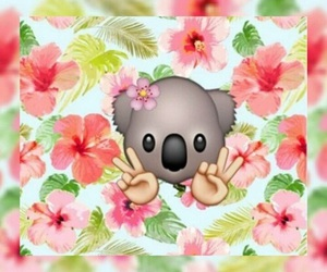 flowers, Koala, and emoji image