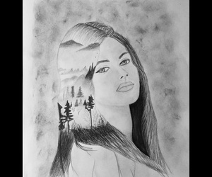 drawing, girl, and nature image