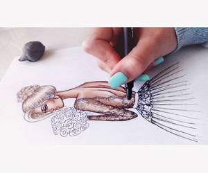 art, fashion, and fashion drawing image