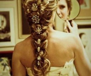 blonde, mirror, and plait image