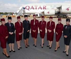 flight attendant, qatar, and cabin crew image
