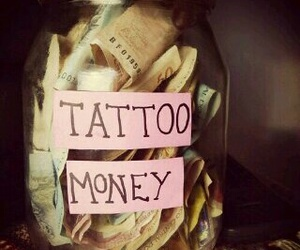 money, glass, and tattoo image