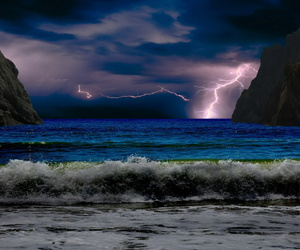 lightning, ocean, and thunderstorm image