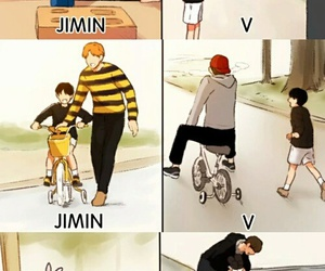 v, jimin, and bts image