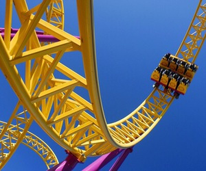 Roller Coaster, fun, and yellow image