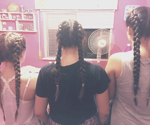 best friends, trenzas, and hair image
