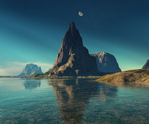 water, moon, and mountains image