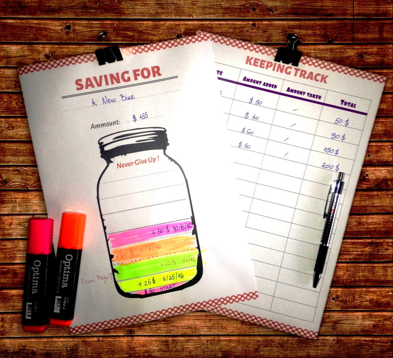 savings jar tracker printable 2 pages saving goal finance