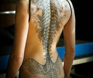 back tattoo, bones, and spine image