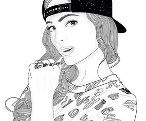cool, girl, and outline image