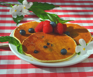 blueberries, food, and pancakes image