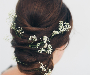 hairstyle, flowers in the hair, and baby breaths image