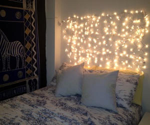 bedroom, light, and cute image