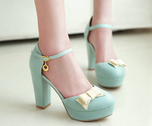 bow, heels, and teal image