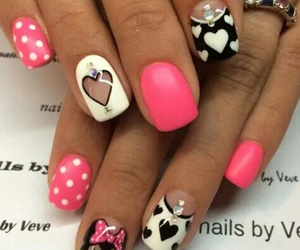 heart, minnie mouse, and nails image
