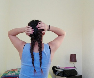 girl, hairstyle, and plaints image
