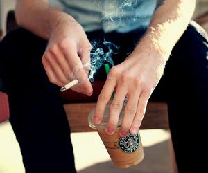 starbucks, boy, and smoke image