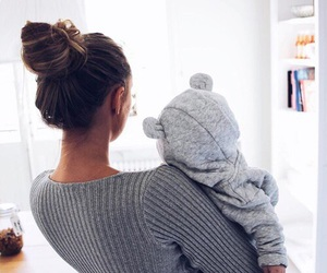 baby, grey, and family image