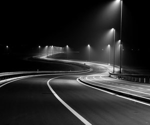 light, night, and road image