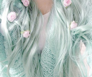 hair, flowers, and pastel image