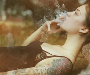 girl, tattoo, and smoke image