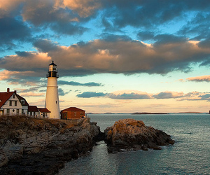 sunset, beauty, and lighthouse image