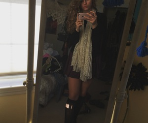 blonde hair, curly hair, and outfit image