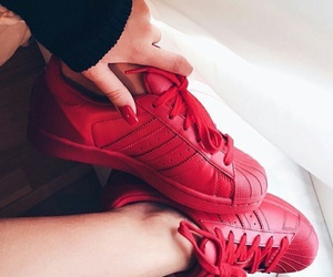 red sneakers, adidas sneakers, and long red nails image