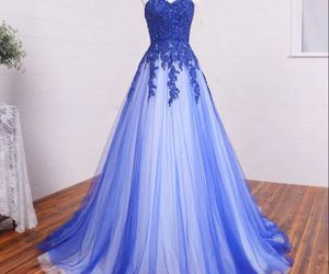 dress, prom dress, and blue image