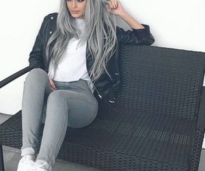 silver hair, white sneakers, and white t-shirt image