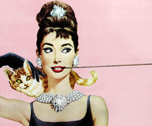 audrey hepburn, cat, and pink image