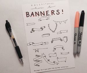 banners, notes, and school image