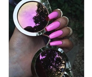 nails, pink, and sunglasses image
