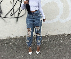 fashion, distressed jeans, and shredded jeans image