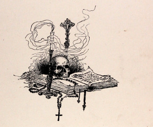 book, skull, and cross image