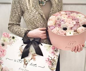 flowers, gift, and girl image