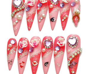 anime, party nails, and stiletto nails image