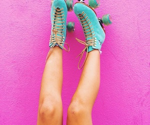 pink, blue, and roller skates image