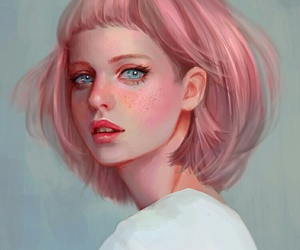 art, pink, and girl image