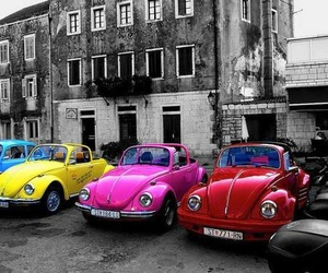 car, black and white, and pink image