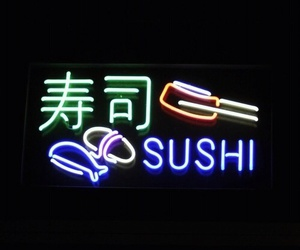 sushi, neon, and food image
